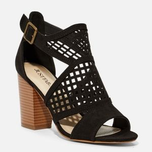 New in Box. Black Cage Style Sandals